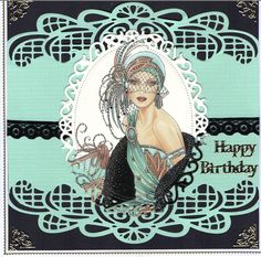 using Sue Wilson Gemini die Orion, and spellbinders floral ovals for topper art… Cool Birthday Cards, Birthday Card Design, Birthday Cards For Women, Art Deco Cards, Art Deco Paintings, Crafters Companion Cards, Art Deco Illustration, Hand Made Greeting Cards, Retro Mode