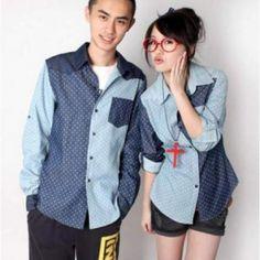Nama Baju Couple: Yoghurt   Bahan: Denim  Ukuran  Cowok: L Cewek: M *Bahan denim kombinasi, bukan sablon.  Harga: Rp.125,000.00