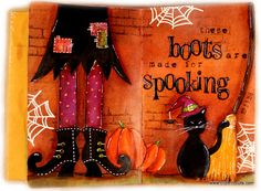Clips-n-Cuts | Art journal Halloween | http://www.clips-n-cuts.com w/you tube video; Sept 2015
