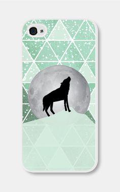 Geometric Phone Case  Mint Green Moon Wolf