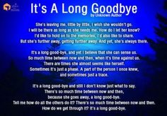 Poem: It's A Long Goodbye This poem about the slow but steady pains of aging and how it changes people. Read more poems in our Inspirational Quotes section. Alzheimers Quotes, Dementia Quotes, Dementia Care, Alzheimer's And Dementia, Alzheimers Tattoo, Vascular Dementia, Alzheimers Activities, Lewy Body Dementia Stages, Dementia Crafts