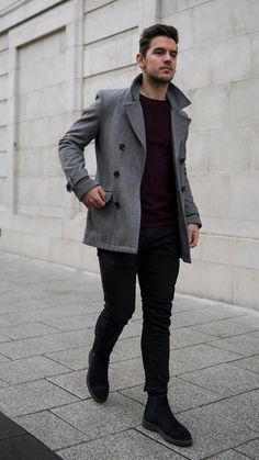 Man dressing style - Monochrome Dressing Style For Men 5 Outfits To Try Winter Outfits Men, Stylish Mens Outfits, Ootd Winter, Mens Winter, Outfit Winter, Casual Outfits, Look Fashion, Winter Fashion, Mens Fashion