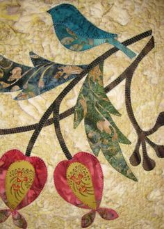 Beautiful work - Edyta Sitar appliqued bird and fruit..detailed