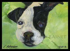 PUPPY Love on a GREEN Blanket ORIGINAL FINE ART Print BOSTON TERRIER bulldog LUV #modernimpressionistcontemporaryart