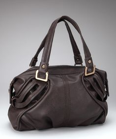 Take a look at this Dark Brown & Gold Satchel by Huntley on #zulily today!