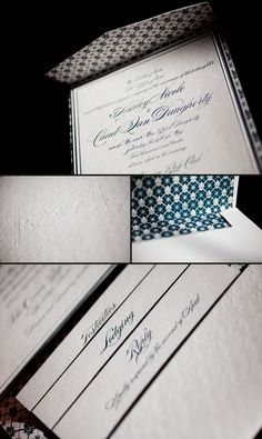 Elegant letterpress invitations featuring our Evans design, complete with custom folios in midnight ink