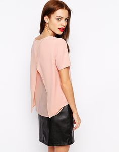 Image 2 of New Look Wrap Back Crepe Tee