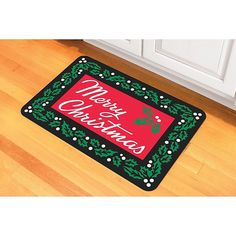 """Bungalow Flooring Merry Christmas 18"""" X 27"""" Floor Mat Multi - The Merry Christmas Floor Mat from Bungalow Flooring will look great in your holiday kitchen. Provides comfortable footing while standing and cooking and has a safe, skid-resistant backing. Kitchen Linens, Kitchen Rug, Kitchen Floor Mats, Christmas Rugs, Merry Christmas, Neoprene Rubber, Accent Rugs, Wedding Gift Registry, Bedding Shop"""