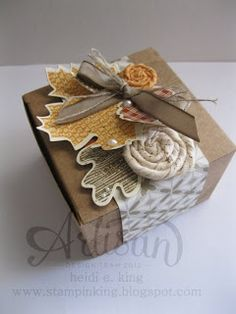 Artisan Design Team October Project: Wonderfall set and Autumn Accents Bigz die Creative Gift Wrapping, Wrapping Ideas, Little Presents, Fall Gifts, Pumpkin Crafts, Pretty Packaging, Thanksgiving Cards, Fall Cards, Stampin Up Cards