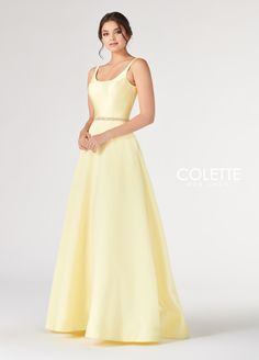 492f41a48d5 Colette for Mon Cheri CL19805 - Sleeveless mikado A-line gown with scoop  neck