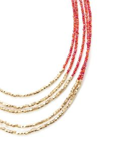 Gold & Red Bead Multi-Strand Necklace by Cara Couture Jewelry at Gilt