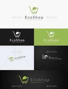 Eco Shop: Nature Green Logo Design Template by C_Monica. Logo Design Template, Logo Templates, Leaf Template, Shop Logo, Restaurant Logo Design, Shops, Portfolio Logo, Best Logo Design, Graphic Design