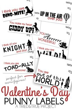 Punny Valentine Labels -  8 cute printables to attach to mini figures!