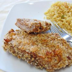 Panko Walnut Crusted Pork Chops... Would work for chicken