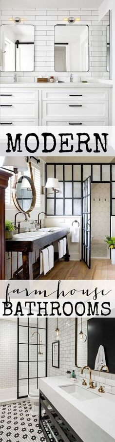 Modern Farmhouse combines traditional farmhouse elements with a fresh modern/industrial twist. Check out these amazing modern farmhouse bathrooms.