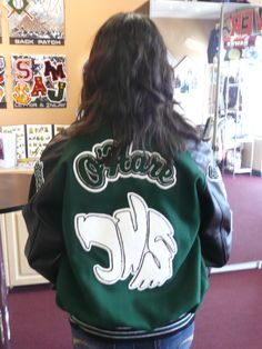 Girls green/black timberwolves Varsity Jacket