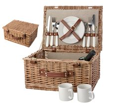 Wicker Picnic Basket Hamper Set For 2 People BBQ Camping Beach Caravan Travel Camping Lunches, Wicker Picnic Basket, Spring Into Action, Stainless Steel Cutlery, Picnic Set, Ceramic Plates, Hamper, Storage Baskets, Retro
