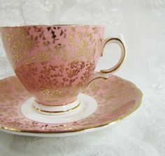 Vintage Colclough Bone China Footed Teacup and Saucer- Pink and Gold