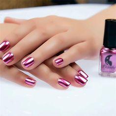 2Bottles Red Purple  Metalic Nail Polish And Base Coat Stainless Steel Mirror Silver Nail Polish Nails Art Tips Varnish