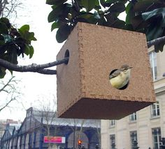 Minimalist cork birdhouse.