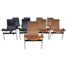"""Nine William Katavalos, Littel and Kelly """"T-Chairs"""" for Laverne International 