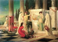 """In Rome, the Vestalia festival honored the Goddess Vesta and took place from June 7th-15th.  On the first day, the Holy of Holies of the Temple was opened for women to leave their offerings. (""""In the Temple of Vesta"""", painting by Constantin Holscher)"""