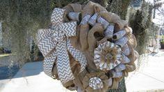 Chic Country Burlap Lace Wreath  Shabby Wedding Decor Handmade Rosettes Flowers Chevron Bow