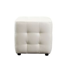 Zen Collection, Bonded Leather Tufted Cube Accent Ottoman by Diamond Sofa