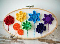 Rainbow Garden handmade flower hoop art from VioletsBuds Rainbow Garden, Arts And Crafts, Paper Crafts, Floral Hoops, Handmade Hair Accessories, Fabric Jewelry, Felt Animals, Handmade Flowers, Rosettes