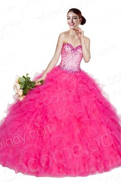 Queenly Ball Gown Sweetheart Natural Floor Length Organza Fuchsia Sleeveless Lace Up-Corset Quinceanera Dress with Beading and Crystals COLF1401F $329.00 Quinceanera Dress, Quinceanera Dress, Quinceanera Dress, Quinceanera Dress