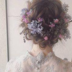 These bridal hair are gorgeous Hair Inspo, Hair Inspiration, Pretty Hairstyles, Wedding Hairstyles, Hair Arrange, Hair Reference, Aesthetic Hair, Hair Dos, Flowers In Hair