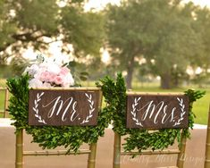 Mr and Mrs Chair Signs Mr and Mrs sign  Mr by countryblissdesigns