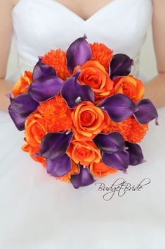 This stunning brides bouquet is hand held bouquet with a mixture of orange roses, orange mums and dark purple calla lilies. This bouquet is approx 12 inches wide Orange Wedding Flowers, Plum Wedding, Fall Wedding Bouquets, Bride Bouquets, Flower Bouquet Wedding, Bridesmaid Bouquet, Wedding Ideas, Wedding Stuff, Halloween Wedding Flowers