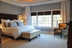 Evolution of Style: Master bedroom.    Wall color:  Mineral Deposit - Sherwin Williams.  Tranquil.  I like that the panels are hung all the way to the ceiling.