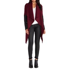 Stylish Women Trench Cape Coat Waterfall Front PU Leather Long Sleeve Cardigan Jacket Black/Burgundy