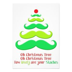 Shop Mustache Christmas Tree - Holiday Card created by ModernMatrimony. Winter Christmas, Christmas Crafts, Christmas Decorations, Xmas, Christmas Tree, Christmas Ornaments, Holiday Decor, Christmas Stuff, Moustache