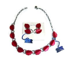 Vintage Thermoset Jewelry Set New Red Leaf by PopcornVintageByTann #voguet #vintage #retro