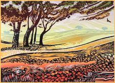 Fields of Amber - Rob Barnes Linocut