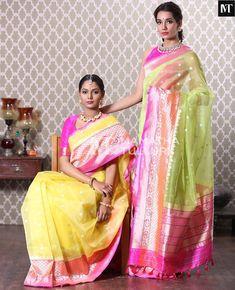Elegant yellow and green benaras sarees Elegant Saree, Elegant Dresses, South Indian Blouse Designs, Latest Saree Trends, Indian Beauty Saree, Indian Sarees, Wedding Saree Collection, Indian Wedding Wear, Stylish Sarees
