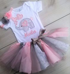 3 Piece Valentine Outfit/ Baby Girl Elephant Tutu/Scrappy Best Picture For valentine day crafts For 1st Birthday Outfit Girl, Birthday Tutu, Birthday Ideas, Elephant First Birthday, Baby Girl Elephant, Elephant Theme, Fabric Tutu, Valentines Outfits, Holiday Outfits