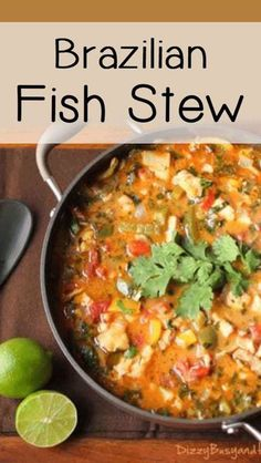 Seafood Fish Stew- Flavorful stew with marinated tilapia, bell peppers, tomatoes, and onions in a coconut milk broth. Seafood Fish Stew Dizzy Busy and Hungry Fish Recipes, Seafood Recipes, Soup Recipes, Dinner Recipes, Cooking Recipes, Healthy Recipes, Healthy Tilapia Recipes, Seafood Stew, Seafood Dishes