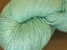 Organic vegan bamboo yarn Mint 2 hand dyed crochet by Klarabela