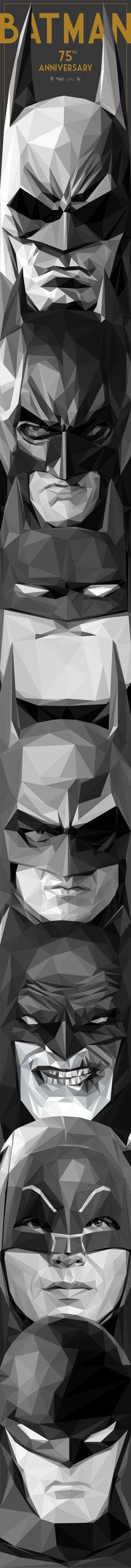 Batman by Simon Delart. // From Bottom to top: Bill Finger / Bob Kane – Adam West – Frank Miller – Tim Burton / Michael Keaton – Bruce Timm / The Animated Series – Christopher Nolan / Christian Bale – Batman Arkham video games. Batgirl, Catwoman, Hero Marvel, Marvel Dc Comics, Im Batman, Batman Art, Batman Poster, Batman Room, Batman Superhero