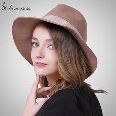 Brand Spring Fashion Wide Brim Australian Wool Felt Hat Black Khaki Ladies Women's Elegant Hats Wholesale Fedora Caps FM037025