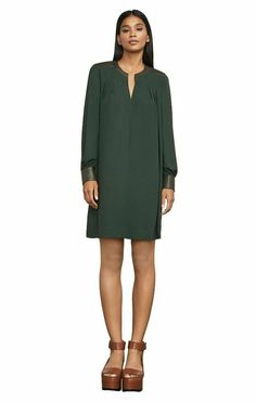 $228 BCBG MaxAzria Alpine Green Faux Leather Trim Lylee Shift Dress S NWT B792 #BCBGMAXAZRIA #Shift #PartyCocktail Alpine Green, Satin Gown, Baroque Fashion, Formal Evening Dresses, Unique Fashion, Cold Shoulder Dress, Midi Skirt, Leather, Style