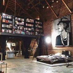If I had a loft, it would so look like this. Is that a bookshelf up the stairs/ladder? And, the art canvas, I love it. My future house needs a loft with this layout and design. Loft Design, Deco Design, Design Case, House Design, Attic Design, Library Design, Studio Design, Bedroom Designs, Wall Design