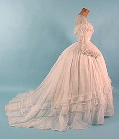 Original Civil War Era Sheer Wedding Gown!  Beautiful!!!