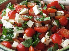 Tomato.Basil.Fresh Mozzarella Salad i like the use of the grape tomatos. drizzle balsamic as wanted