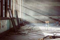 Forgotten - 8x12 Fine Art Photography Print - abandoned urban decay chair school classroom light photograph Detroit. $25.00, via Etsy.