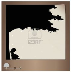 Vector background with children read a book under tree  Vector Illustration  Stock Photo